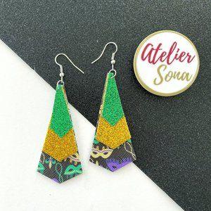 Sparkly Mardi Gras Earrings - Green